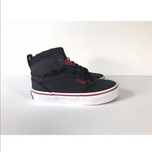 Vans Shoes - Vans Atwood Hi Rock Textile Black Red Sneakers